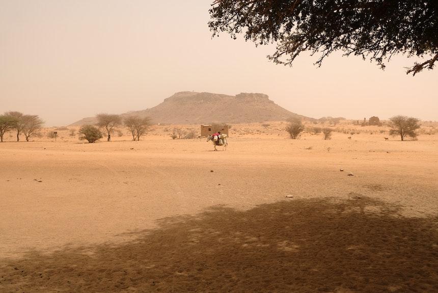 Im Hintergrund der Hausberg und ehemalige Steinbruch Dschebel Naga