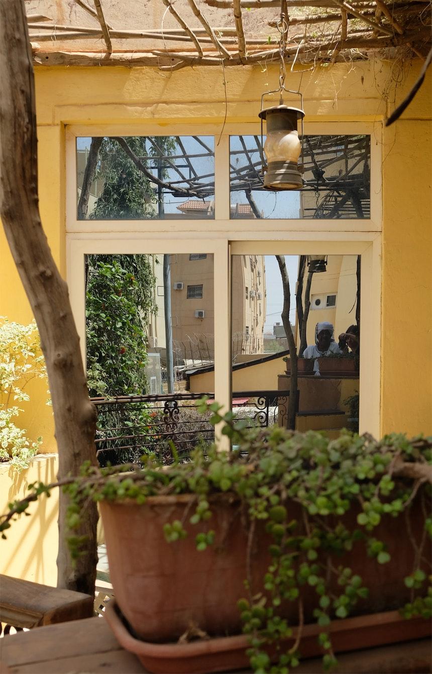 Ins Fenster fotografiert