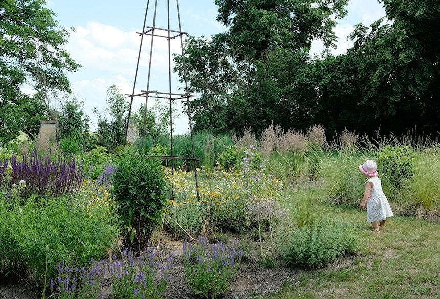 Im Garten auf Entdeckung gehen – An den skulpturalen Rankgittern werden im nächsten Jahr die Rosen blühen
