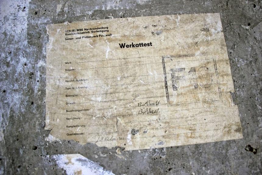 Original: Werkattest vom Beton- und Plattenwerk Pasewalk