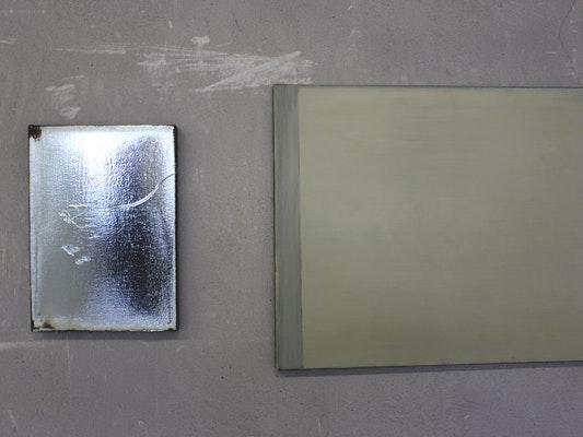Silverdeposit auf Leinwand 'Jacob Kassay'