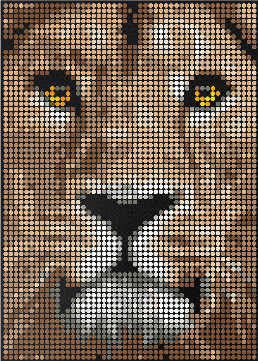 Löwe – Kunst aus Klebepunkten von dot.on