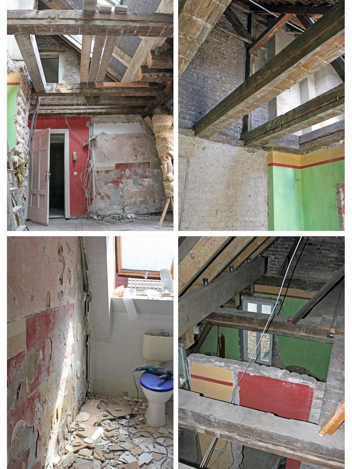 Der Durchbruch zur Dachterrasse (rechts unten) ist schon fertig