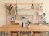 Zu Hause bei JOHANENLIES – Regal CELESTE aus Bauholz, Stahl und Travertin, Tisch MRS VALKENBURG