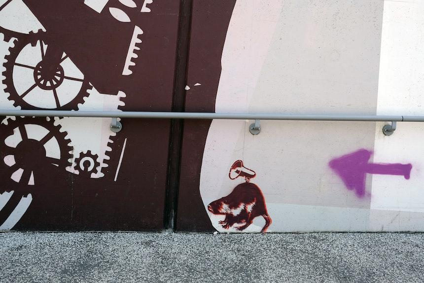 Street Art entlang der Fahrradrampe