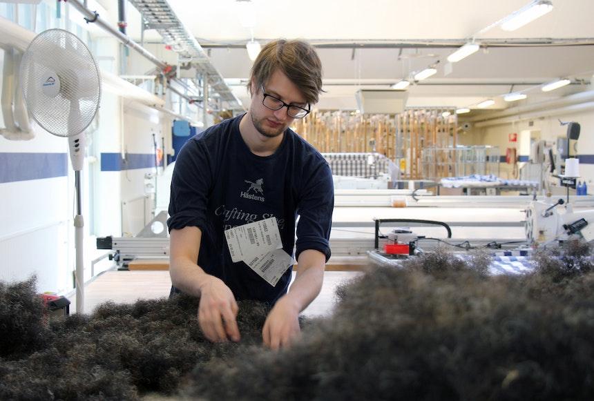 Mitarbeiter beim Verteilen des Rosshaars von Hand