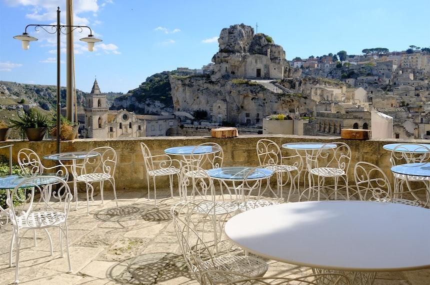 Blick von der Terrasse des Hotels »La Casa di Lucio«
