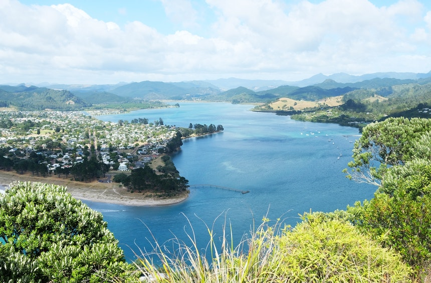 Ausblick vom Gipfel des ehemaligen Vulkans Mount Paku – Tairua, Coromandel Peninsula