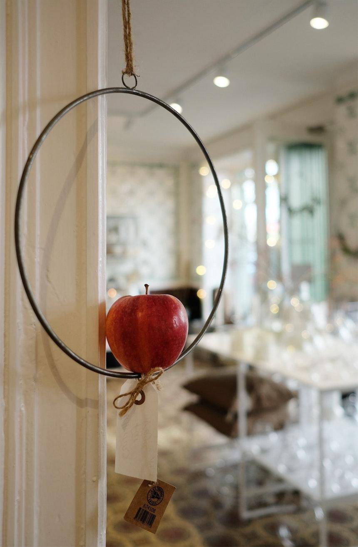 Es muss nicht immer eine Kerze sein – Im Lichtkranz aus Metall macht sich auch ein Apfel sehr gut