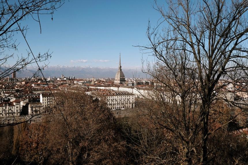 Aussicht auf die Stadt vom Monte dei Cappuccini, Wahrzeichen Mole Antonelliana