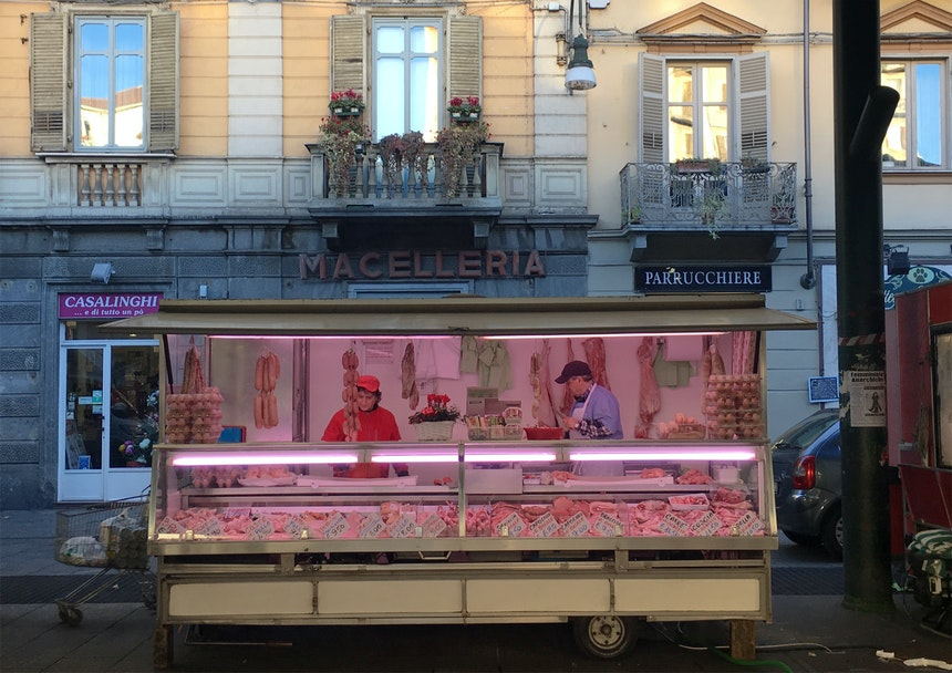 Wochenmarkt auf dem Piazza Madama Cristina